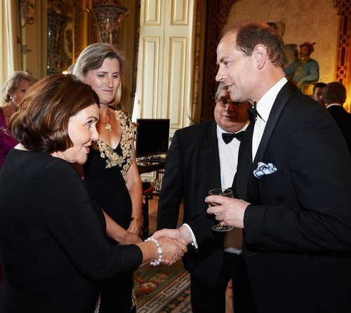 Medium mrs. patricia robinson presented to hrh earl of wessex pre dinner drinks buckingham palace london 8 july 2014
