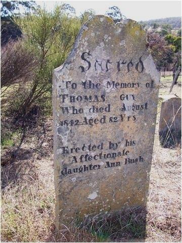 Medium thomas guy headstone back creek cemetry magra  tasmania