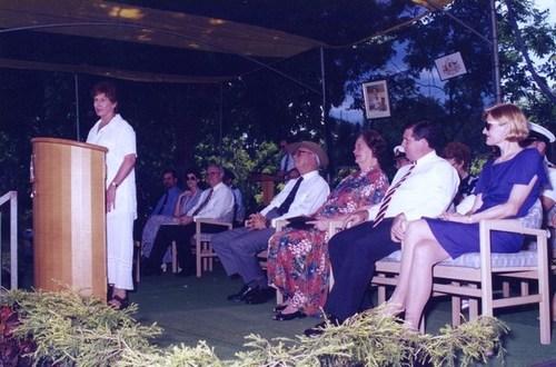 Medium wendy fahey territorian of the year addresses crowd on esplanade territory day 1 july 1996